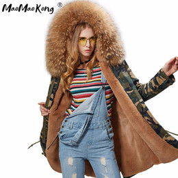 Wholesale womens parka green - Wholesale- Factory wholesale pink real womens fur coat army green Large color raccoon fur parkas outwear long lfaux fur lining coat winter