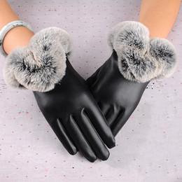 2019 guantes de encaje blanco dedos largos Mujeres cálidas gruesas de invierno guantes de cuero elegante niñas marca mitones tamaño libre con piel de conejo guantes de pantalla táctil femenina