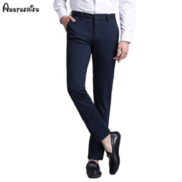 Толстые деловые брюки онлайн-2018 Men's British Style Casual Pants Spring And Autumn Elastic Slim Fit Long Thick Men's Business Trousers 97D