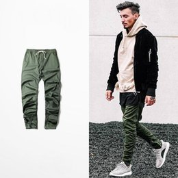 Wholesale Fashion Jumpsuit Harem - Wholesale- kanye west hip hop clothing men joggers jumpsuit chino  Green side zipper harem justin bieber pants