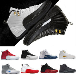 Wholesale French Army - 2018 wholesale 12 12s men Basketball shoes man french blue flu game playoffs taxi University blue wool Varsity Red sport Sneakers eur 41-47