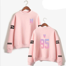 Wholesale popular boys clothing - KPOP BTS Love Yourself Album Pink Sweatshirt Women Korea Popular Idol Bangtan Boy Long-Sleeved Pullovers Hoodies K-POP Clothes