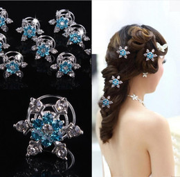 Wholesale Twist Pins Crystal Wholesale - 2018 wedding accessories Crystals Hair Twists Spiral Coils Hairpins headpieces U pins frozen style bridal hair rhinestone headbands