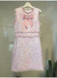 Vestidos de lã vintage on-line-Outono Novo design de moda das mulheres o-pescoço sem mangas rhinestone arco patchwork bonito cor de rosa lurex tweed borla de lã tanque vestido SML
