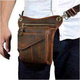 Fine Jewelry Hot Sale Crazy Horse Real Leather Design Men Vintage Coffee Small Belt Messenger Bag Waist Pack Drop Leg Bag Pouch 3106db Fine Quality