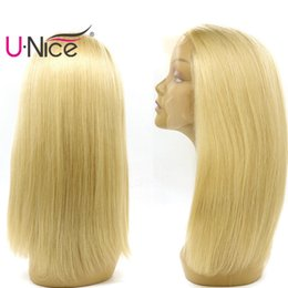 Wholesale 613 Peruvian Hair - UNice Hair 613 Blonde Human Hair Lace Front Wigs Long Straight Wig For Black Women Brazilian Full Lace Human Hair Wigs Pre-plucked Wholesale