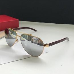 3c7588c06f05f Atacado new fashion designer homens óculos de sol de Metal pilotos de  armação de madeira pernas uv400 proteção polarizada eyewear estilo top  vintage ...