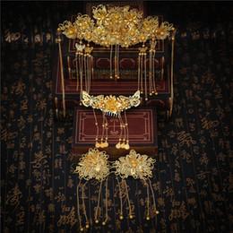 chinesische traditionelle hochzeit schmuck Rabatt Vintage chinesische klassische Goldfarbe Haarschmuck Set traditionelle Braut Kopfschmuck Hochzeit Zubehör Quaste Coronet Headwear