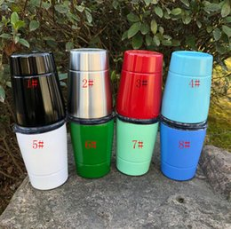 Wholesale Folk Business - 8 Colors Stainless steel Wine Glasses Hot Stemless Wine Cups Style Beer Bottles Metal Wine Mugs Coolers