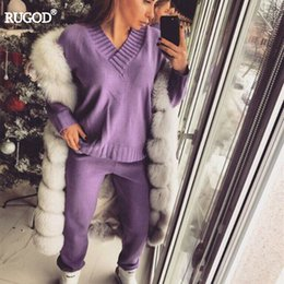 Rugod 2017 Autumn Winter Women Cotton Tracksuits 2 Piece Set Solid V-neck  Long Sleeve Knitted Top+pants Suit Women Leisure Wear D18110501 27f6cc508