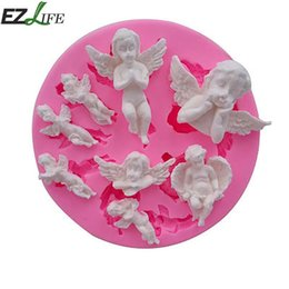 Wholesale Wholesale Baby Soap - Cake Mold Angel Baby Pink Silicone Mold Chocolate Candy Molds Fondant Cake Decorating Tools DIY Fondant Soap Pastry Tool CHW8884