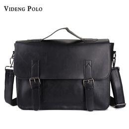 2019 polo couro masculino VIDENG POLO Casual Men's Leather Large Capacity Business Messenger Bags Vintage Travel Shoulder Crossbody Bags Male Bolsas desconto polo couro masculino