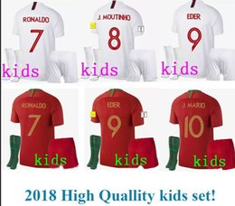 Wholesale Gift Football World Cup - World cup kids Maillot white 2018 Camiseta cheap voetbal youth boy nice birthday gift cr7 PORTUGAL football kits jerseys Maglie calcio