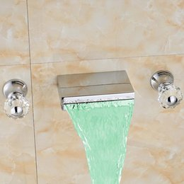Wholesale Changing Basin Taps - Uythner Widespread Waterfall Spout Crystal Handles Basin LED Color Changing Tub Faucet Square Spout Mixer Tap Faucet