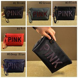 Wholesale Sports Bling Wholesale - Pink Letter Sequins Cosmetic Bag Sequin Bling Travel Makeup Bag Sequins Storage Bag Make Up Case Beauty Toiletry Bags 20pcs OOA4471