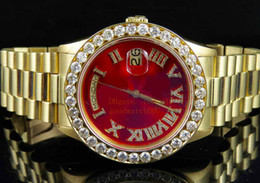 2019 бриллианты золотых часов 18к Мужские 18K мужские желтое золото день-дата 41 36 мм Красный циферблат алмазные часы Мужские спортивные оригинальный футляр Платье стили автоматические механические часы скидка бриллианты золотых часов 18к