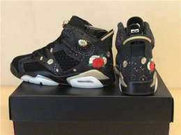 Wholesale Mens Chinese Shoes - 2018 RETROS 6 CHINESE NEW YEAR 6S CNY MENS BASKETBALL SHOES MEN BLACK GOLD PEONY FIREWORKS EMBROIDERY SNEAKERS METALLIC GOLD-MULTI NOIR
