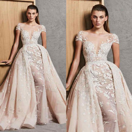 Wholesale Zuhair Murad Wedding Dress Short - Zuhair Murad 2018 Wedding Dresses With Detachable Train Lace Beaded Overskirt Bridal Gowns Short Sleeves Appliqued Vestido De Novia