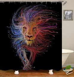 Wholesale print curtains - Waterproof Colorful Creative Tigers Lions Wolves Wolf Pattern Designed Digital Printing Bathroom Shower Window Curtain with Hooks 71x71inch