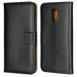 Wholesale a5 book - Genuine Leather Wallet Case For Galaxy J4 EU J6 Europe A6 Plus A8 A5 A7 J2 Pro 2018 Real True Cards Slot Coque Luxury Flip Cover Book Pouch
