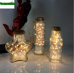 Wholesale Free Bedside Table - Free shipping Decorative table lamp bedside creative night light LED star point bottle light led warm gift glass bottle.