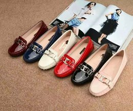 Wholesale Brand Comfort Shoes - Size 35-39 Women casual shoes genuine leather luxury brand flats office comfort shoes original box fast ship with DHL