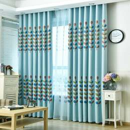 Cortinas de ventana para niños online-Pastoral Blackout Curtains String Grass Pattern para Niños / Niños Habitación Boys / Girls Black Silk Shade Insulation Tulle Window Curtain Drape