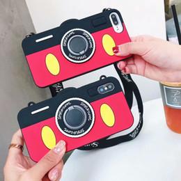 Casos bonitos do telefone on-line-3d câmera silicone macio case para iphone xr 6.1 xs max 6.5 x 10 8 7 6 6 s além de bonito lindo estilo legal dedo anel titular do telefone capa + cinta