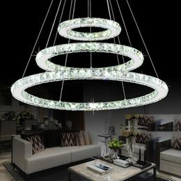 Luce pendente registrabile online-Cristalli moderni con lampadari a forma di cromo Anello con diamanti Lampada a sospensione a LED Lampade a sospensione a sospensione in acciaio inox Cristal LED Luster