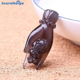 Wholesale Hand Carved Buddhas - Wholesale High Quality Ice Black Natural Obsidian Carved Buddha Hand Pi Xiu Lucky Amulet Pendant Necklace For Women Men Jewelry
