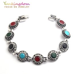 Wholesale Jewelry Young - Wholesale- Yunkingdom Bohemian Ethnic Fashion Bracelet Stones Antique Gold Color Jewelry Young Women Lady Holiday Gifts YUN0614