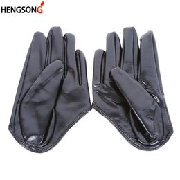 white leather gloves half Promo Codes - 2018 women's fashion half palm full finger PU leather gloves female hip-hop candy color performance gloves