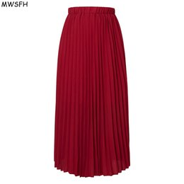7043d8276 MWSFH Autumn Women Long Pleated Chiffon Skirt Solid Retro Maxi Skirts Female  Artificial Piano Pleated Skirt Woman Jupe Femme