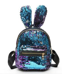 Discount peach ribbon bows - Shinning Bling Sequins Cute Big Rabbit Ears Backpack for Teenager Girls mochila Shoulderbag Women Mini Travel cute Bag