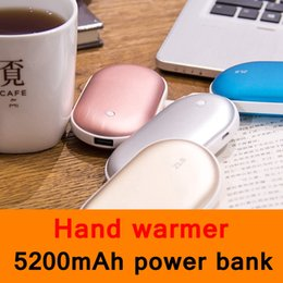Wholesale Battery Hand Warmers - 2017 New Style USB hand warmer 5200mAh power bank Dual function backup battery Phone charger Girl friend Gift 4 colors