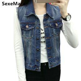 5b498cc44fad7 Denim Vest Women Blazer Coats 2017 Good Quality Fall All-match Jeans  Vintage Waistcoat Sleeveless Street Pocket Women Vest Jun42