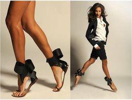 Sandalen große bögen online-Heiß! Frauen Sandalen Sexy Mode Neue Große Fliege Schuhe Zapatos Mujer Casual Frauen Wohnungen Marke Designer Gladiator Schuhe Frauen