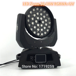 zoom pc Rebajas 2 piezas / lote LED Zoom Wash 36x18W RGBWA + UV Color DMX Stage Pantalla táctil, LED Moving Head Wash Light Bueno para DJ