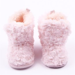 Wholesale Girls Pink Fur Boots - Super Warm Newborn Girls Boots Prewalkers Keep Warm Baby Winter Shoes First Boots Walkes Pink Sweet Girls Kids Booty