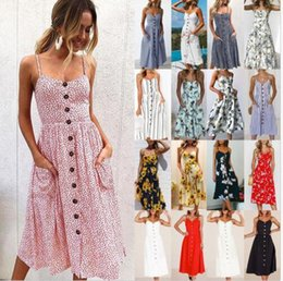 Wholesale Swing Tops - Women Holiday Button dress Boho Summer Beach Long Maxi Swing Sun Dress Floral Print beach dress KKA5124