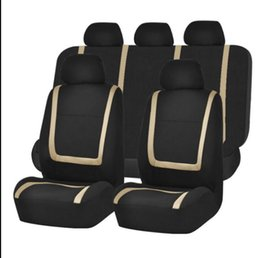 Wholesale Universal Rear Sets - wholesale Embroidery Car Seat Covers Set Universal Fit Most Cars Covers with line Styling Car Seat Protector Auto Interior Decoration