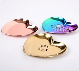 Wholesale metal heart ornaments - Heart Shaped Jewelry Serving Plate Decoration Ornament Metal Tray Storage Visual Touch Display Metal Tray 3color DDA240