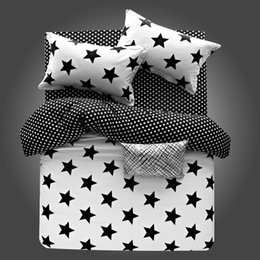 Wholesale Full Fitted Sheet White - 100% Cotton High Quality Star Dovet Cover Set Pillow Shams Flat Sheet Fitted Sheet 4PCS Adults Children Teens Kids Free Shipping