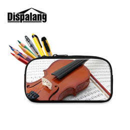 Wholesale Music Stationery Gifts - 3D Violin Printed Pen Bag Student Stationery Gift For Preschoolers Creative Design Music Pencil Case Cosmetic Bags For Women Child Pen Pouch