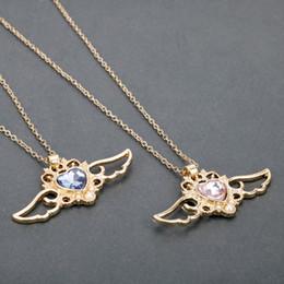 luna azul marinero Rebajas dongsheng Sailor Moon azul rosa en forma de corazón gargantilla de cristal para las mujeres ala del ángel colgantes, collar Anime Jewelry Gifts-30
