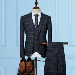 Canada Costume Hommes Ensemble Britannique Gris Foncé Plaid Hommes Costumes Tweed Smokings Casual Blazer 3Pcs Hommes Blazer Costumes (Veste + Pantalon + Gilet + Cravate) Offre