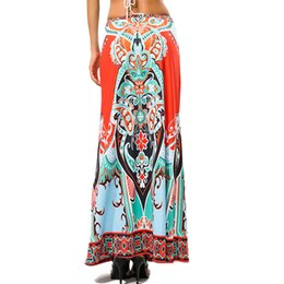 Più retro modello di formato online-Hots Retro Pattern Stampa Gonne Donna Jupe Longue New Fashion Donna Vintage Gonna stile Thai Faldas Mujer Plus Size