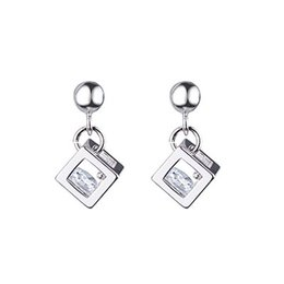 fdff7a057 Fresh And Simple Hollow Perspective Cube Flash Diamond Zircon Stud Earrings  Magic Square Ear Hanging Gift Female