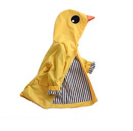 Детская одежда Детская одежда девушки пальто милый мультфильм костюмы утка полный рукав с капюшоном куртки малыша мальчиков верхняя одежда желтый от
