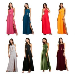 Wholesale maxi dress nightclub - Occident Style Gauze Dress Women Sexy Solid Color Nightclub Party Dresses Back Bare Stitching Skirt RF0866